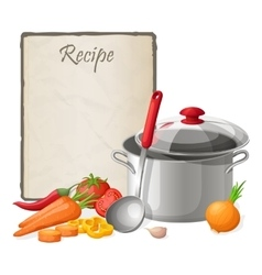Recipe card Kitchen note blank template vector image