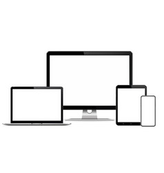 Responsive web design computer display with laptop vector