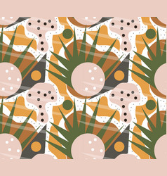 retro geometric seamless pattern trendy palm leaf vector image