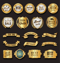 Retro vintage golden badges vector