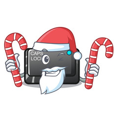 Santa with candy capslock button isolated with the vector