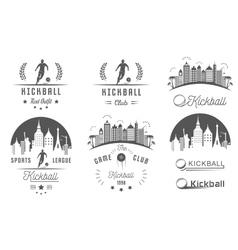 set kickball logo badges and emblems vector image