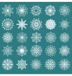 Set of 25 hand drawn symmetric white snowflakes vector