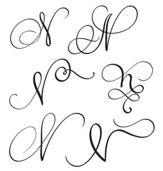 Set of art calligraphy letter n with flourish of vector