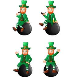 set of cartoon leprechaun sitting on the pot in di vector image