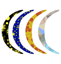 Set of colorful australian boomerang vector
