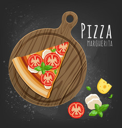 Set of italian pizza on wooden boards 9 items vector