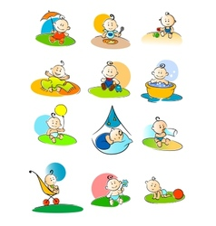 Set of small babies enjoying various activities vector image