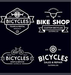 set vintage and modern bike shop logo badges vector image