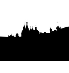 Silhouette moscow city black outline church vector