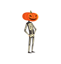 Skeleton with a pumpkin on his head funny person vector