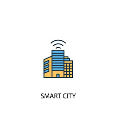 smart city concept 2 colored line icon simple vector image