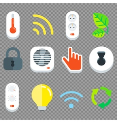 Smart House Flat Tech Icon Set vector