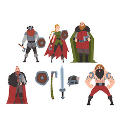 strong brave vikings collection male and female vector image