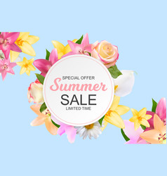 summer sale banner with lily rose chamomile and vector image