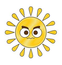 Summer sun angry kawaii character vector
