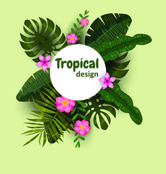 summer tropical jungle card with flowers leaves vector image