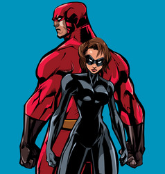 superhero couple back to back no capes vector image