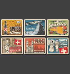 Switzerland travel landmark posters swiss vector