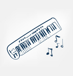 synthesizer sketch line design music instrument vector image