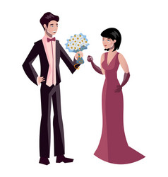 the man gives a woman a bouquet of flowers vector image