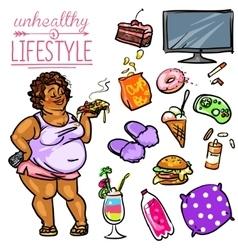 Unhealthy Lifestyle - Woman vector