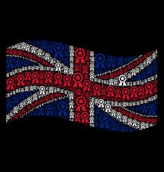 waving great britain flag pattern of certificate vector image