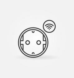 wi-fi smart socket outline icon or logo vector image