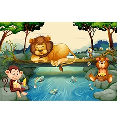 Wild animals on the river vector
