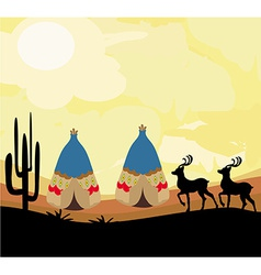 Wild landscape with two wigwams and wild animals vector