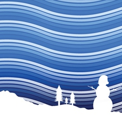 winter background with snowman vector image