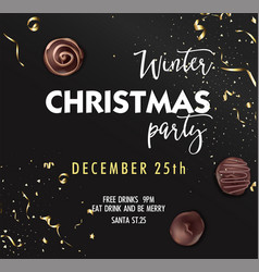 winter christmas party december 25th invitation vector image