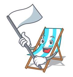 With flag beach chair mascot cartoon vector
