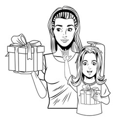 Women and girl with gift box in black and white vector