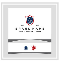 Wrench with hammer american shield logo design vector