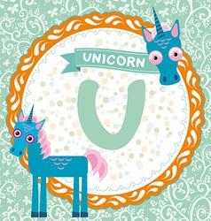 ABC animals U is unicorn Childrens english vector image vector image