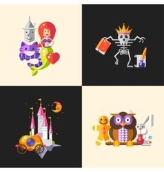 Fairy tales flat design magic cartoon characters vector image