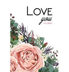 Floral watercolor style card design lavender vector
