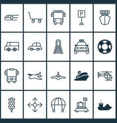 Shipping icons set collection of skydive road vector