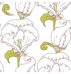 Abstract outline floral seamless pattern vector image vector image