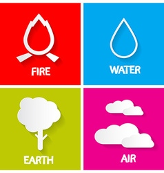 Four elements icons set fire - water - earth and vector