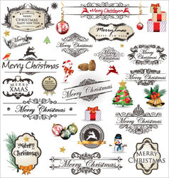 Merry Christmas vintage Label collection vector image