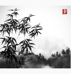 bamboo trees and forest in fog hand drawn with ink vector image