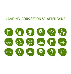 Camping icon set on green splatter paint Flat icon vector image