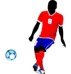 football player on the field colored for designers vector image