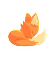 funny red kitten sleeping cute cartoon animal vector image vector image