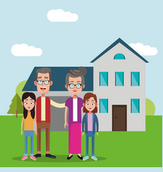 grandparents with girls house bakcground vector image