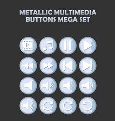 metallic multimedia buttons set for website vector image