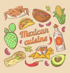 mexican cuisine traditional food hand drawn doodle vector image vector image