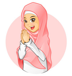 Muslim Girl with Salutation Pose vector image vector image